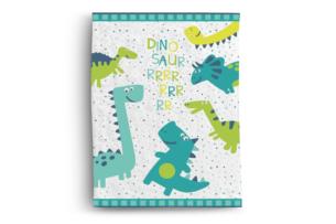 TIMMO, https://konsimo.pl/kolekcja/timmo/ Koc dziecięcy dinozaury biały/zielony/turkusowy - zdjęcie