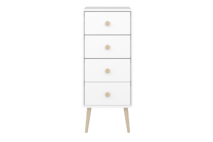 GAIA, https://konsimo.pl/kolekcja/gaia/ Wysoka komoda z szufladami dla dzieci biała biały/dąb - zdjęcie