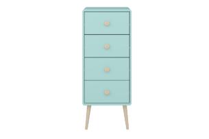 GAIA, https://konsimo.pl/kolekcja/gaia/ Wysoka komoda z szufladami dla dzieci pastelowa zielona *miętowy/dąb - zdjęcie
