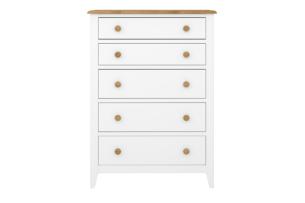 HESTON, https://konsimo.pl/kolekcja/heston/ Wysoka drewniana komoda z szufladami biała / dąb naturalny biały/dąb naturalny - zdjęcie