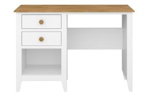 HESTON, https://konsimo.pl/kolekcja/heston/ Drewniane biurko z szufladami białe / dąb naturalny biały/dąb naturalny - zdjęcie