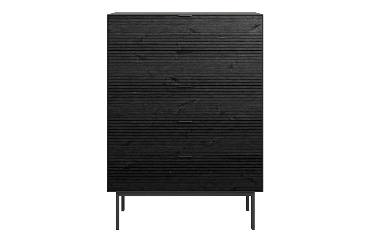 Komoda z szufladami w stylu loft na nóżkach czarna