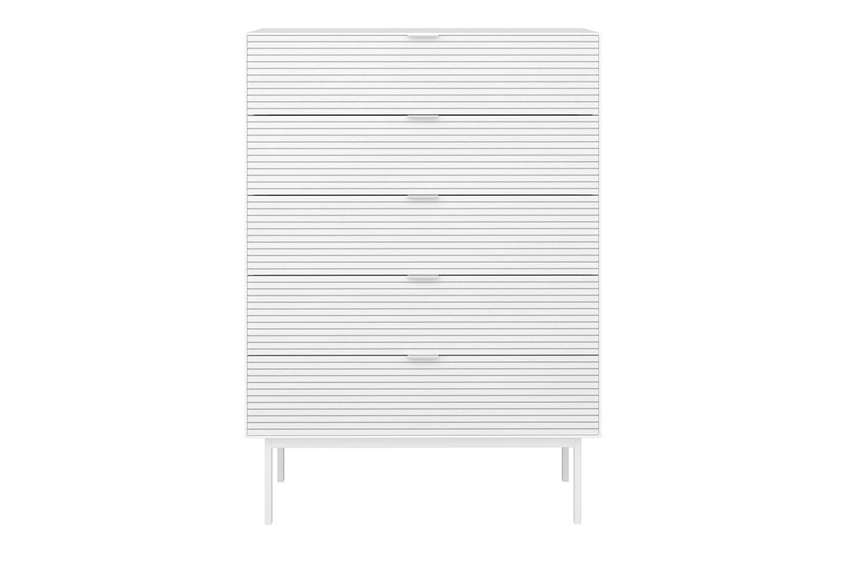 Komoda z szufladami w stylu loft na nóżkach biała
