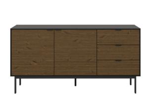 SOMA, https://konsimo.pl/kolekcja/soma/ Duża komoda z półkami i szufladami w stylu loft na nóżkach czarny jesion czarny/jesion ciemny - zdjęcie