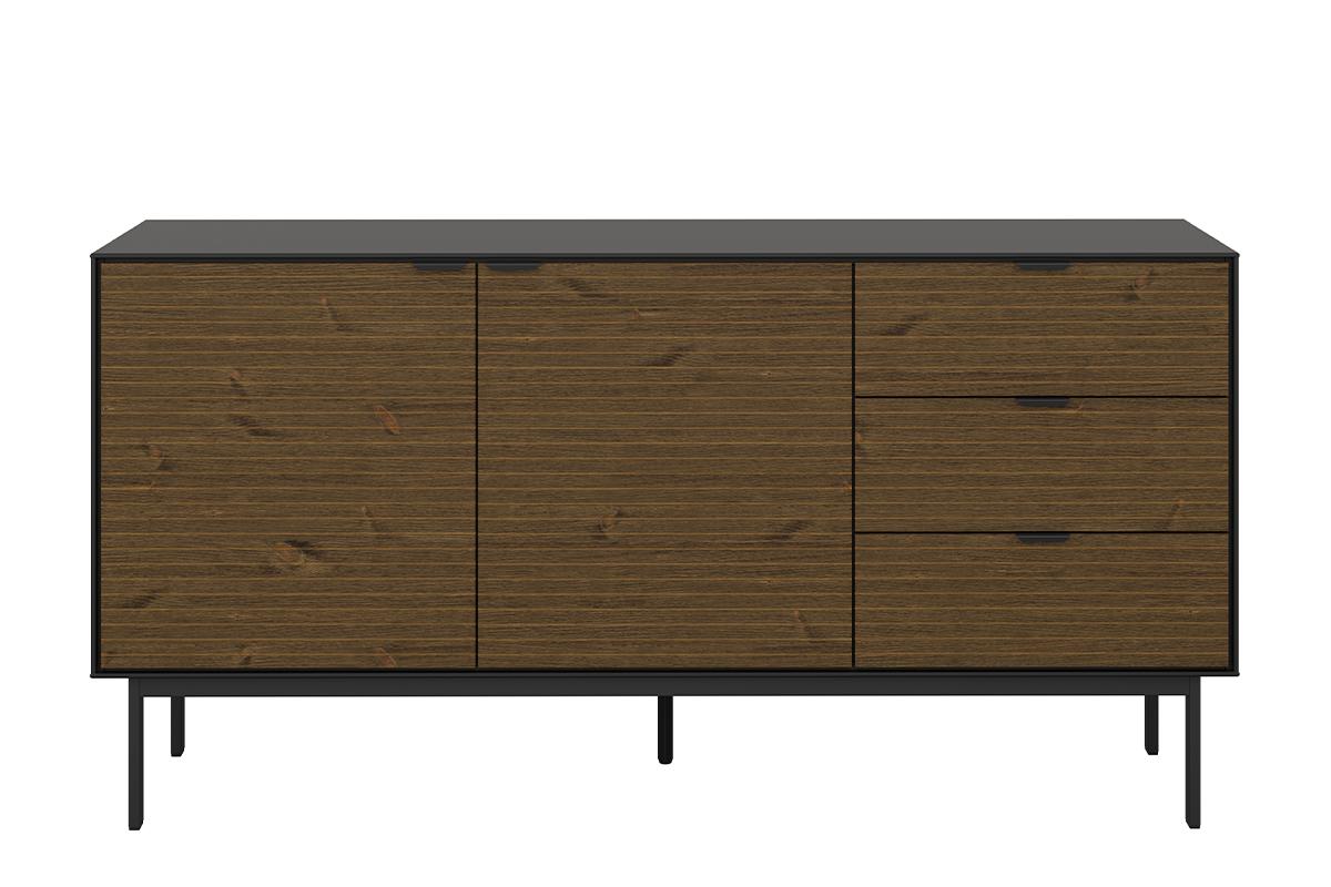 Duża komoda z półkami i szufladami w stylu loft na nóżkach czarny jesion