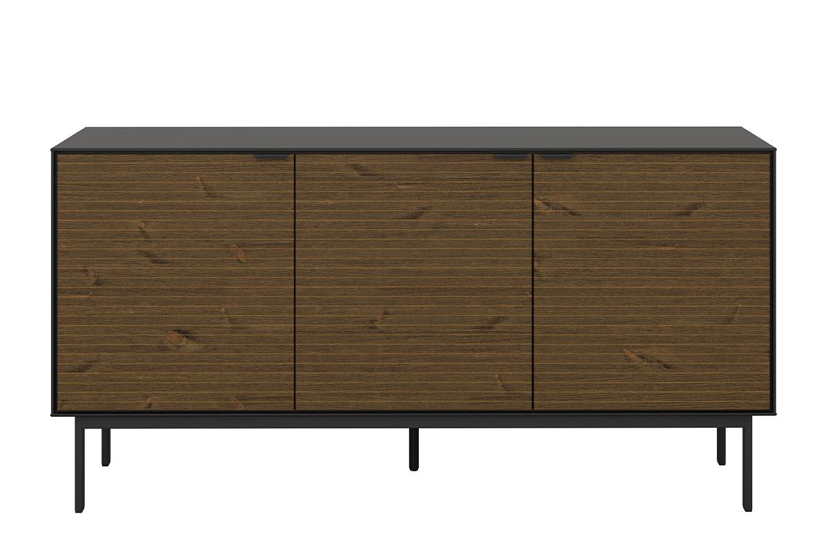 Duża komoda z półkami w stylu loft na nóżkach czarny jesion