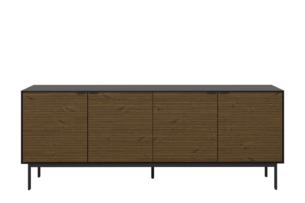 SOMA, https://konsimo.pl/kolekcja/soma/ Duża komoda 200 cm z półkami w stylu loft na nóżkach czarny jesion czarny/jesion ciemny - zdjęcie