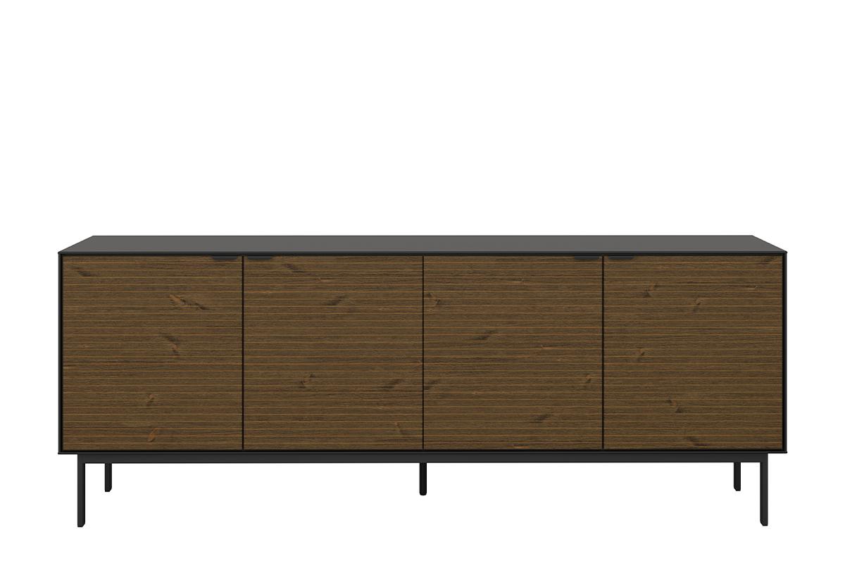 Duża komoda 200 cm z półkami w stylu loft na nóżkach czarny jesion