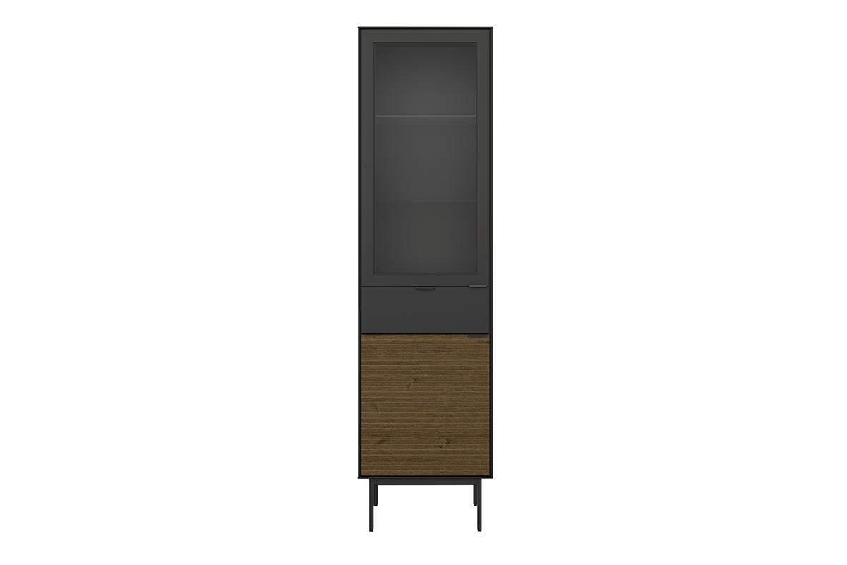 Witryna szklana z półkami w stylu loft na nóżkach czarny jesion