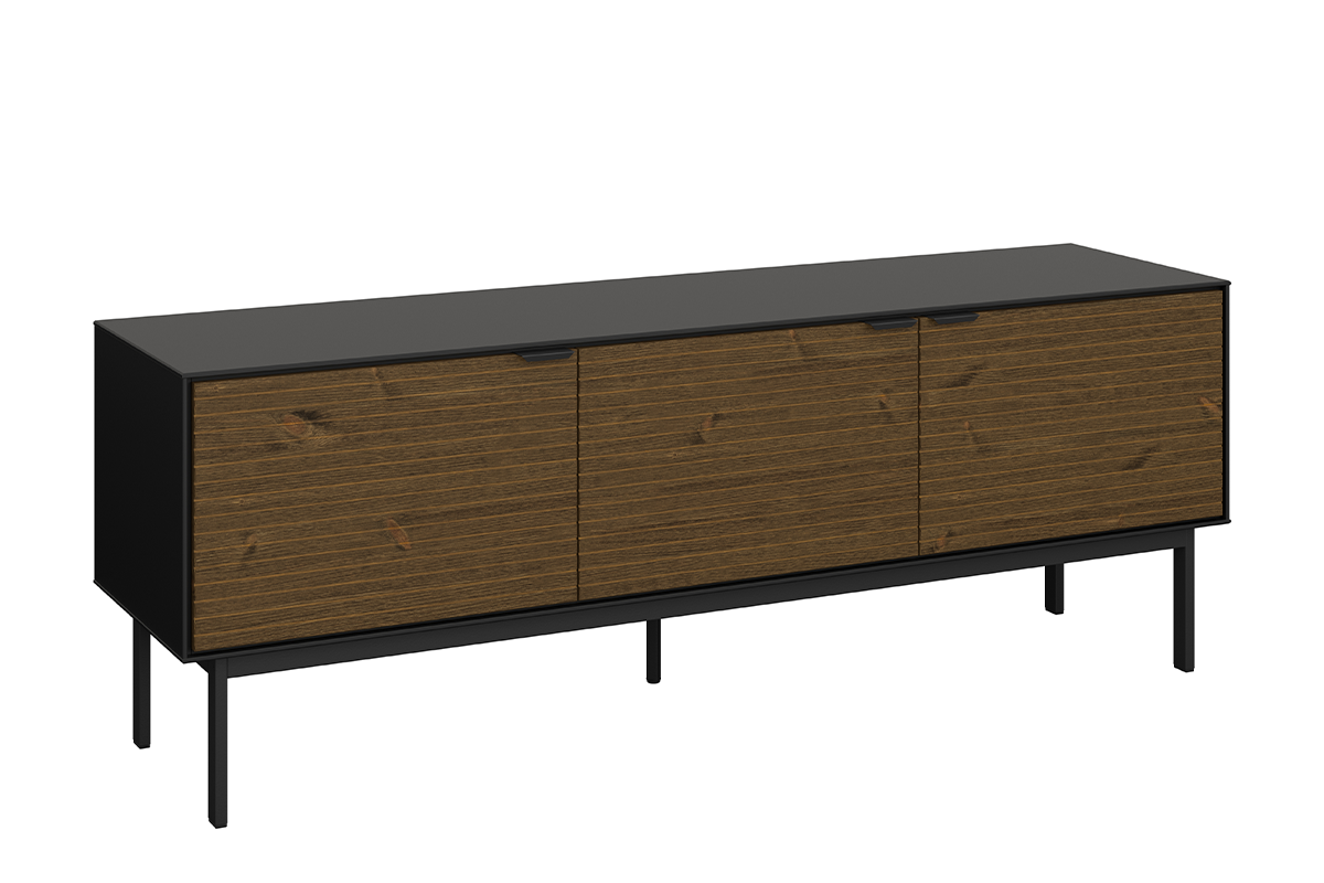 Duża szafka rtv z półkami w stylu loft na nóżkach czarny jesion
