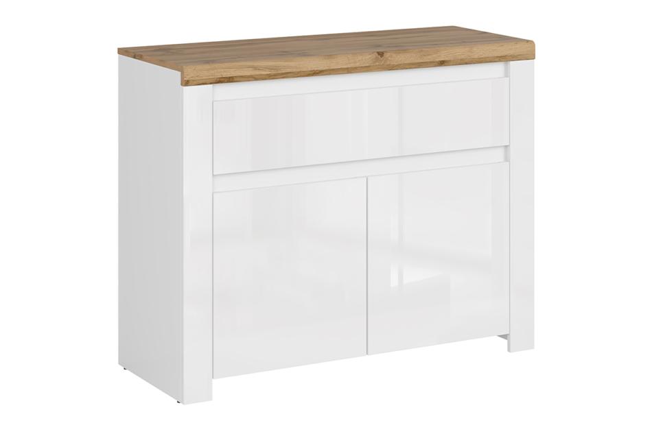 DAMINO Pojemna komoda z półkami i szufladą do pokoju dziennego biała / dąb biały połysk/dąb wotan - zdjęcie 0