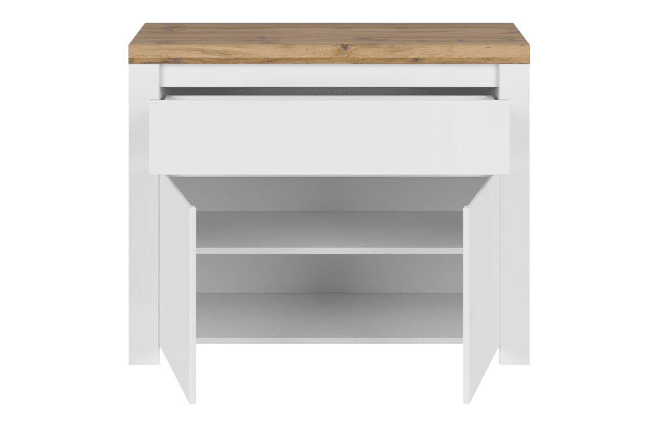 DAMINO Pojemna komoda z półkami i szufladą do pokoju dziennego biała / dąb biały połysk/dąb wotan - zdjęcie 2