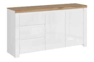 DAMINO, https://konsimo.pl/kolekcja/damino/ Duża komoda 150 cm do pokoju dziennego biała / dąb biały połysk/dąb wotan - zdjęcie