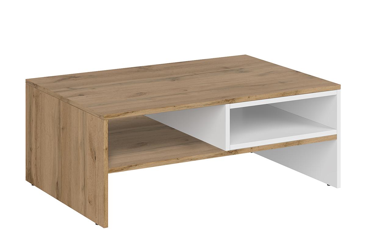 Stolik kawowy z półką do pokoju dziennego biały / dąb
