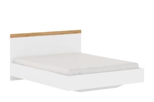 DAMINO, https://konsimo.pl/kolekcja/damino/ Rama łózka do sypialni 160 x 200 biała / dąb biały połysk/dąb wotan - zdjęcie