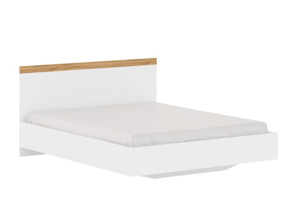 DAMINO Rama łózka do sypialni 160 x 200 biała / dąb biały połysk/dąb wotan - zdjęcie 0