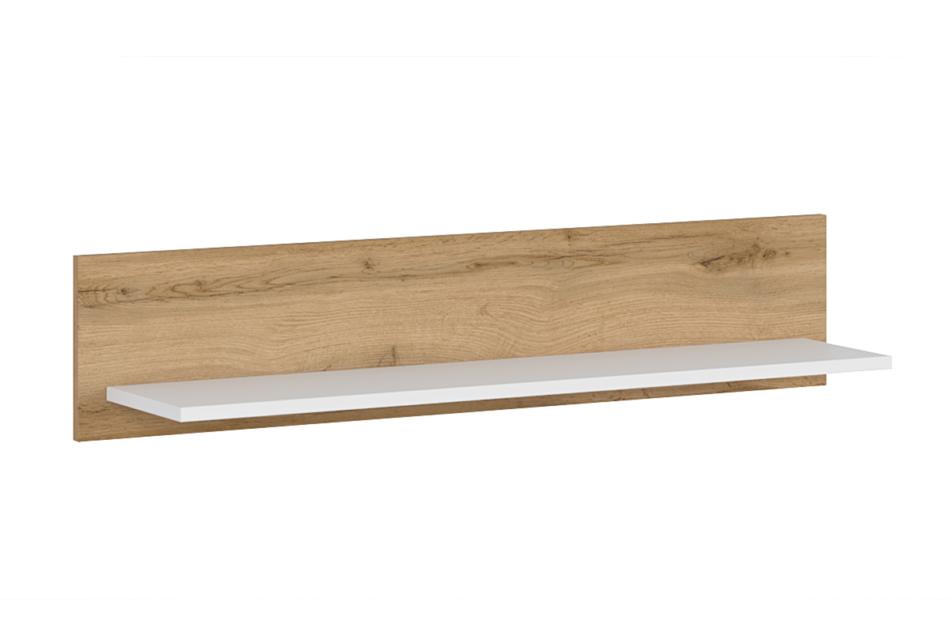 DAMINO Półka wisząca 100 cm do pokoju dziennego biała / dąb dąb wotan/biały połysk - zdjęcie 0