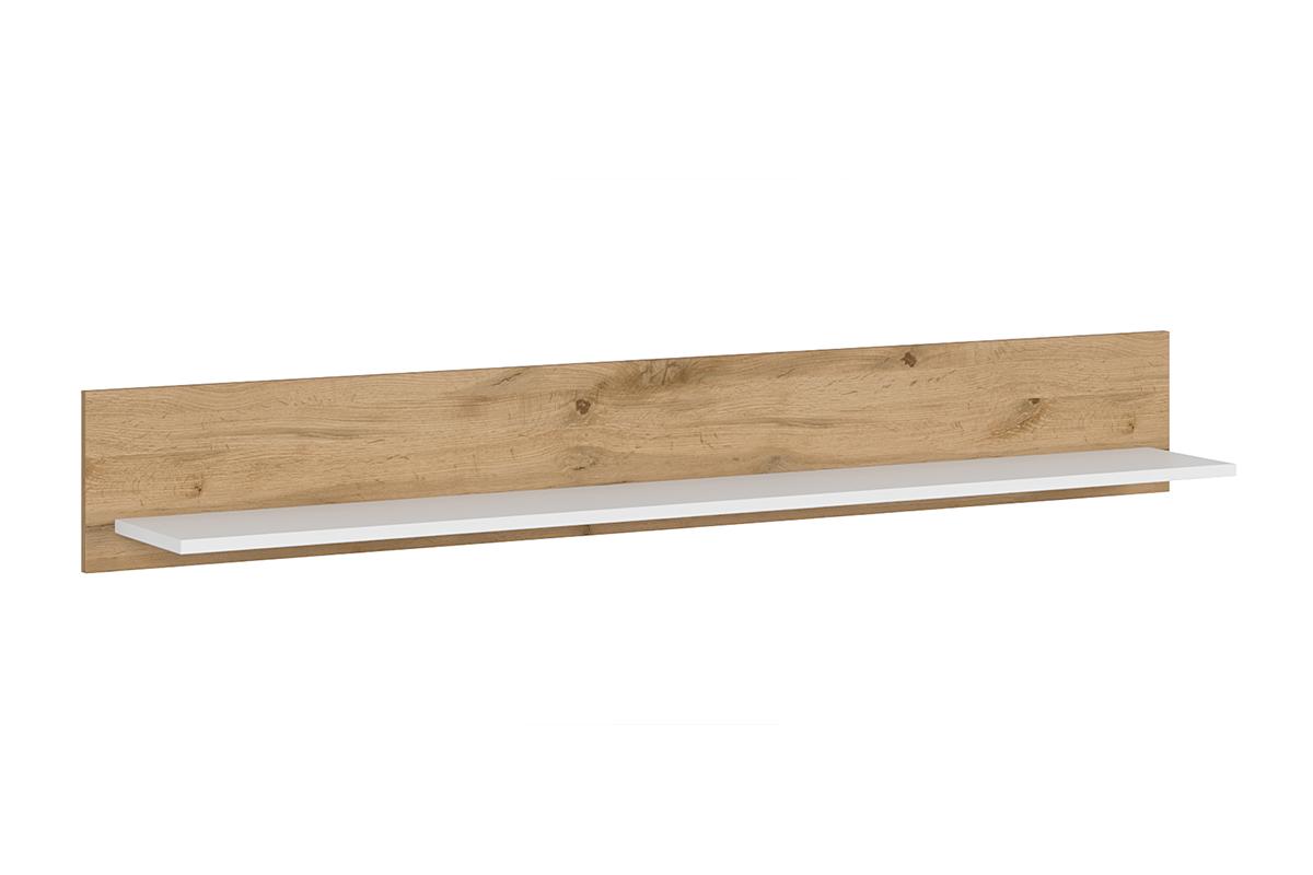 Półka wisząca 150 cm do pokoju dziennego biała / dąb