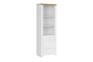 DAMINO, https://konsimo.pl/kolekcja/damino/ Regał z półkami 60 cm do pokoju dziennego biały / dąb biały połysk/dąb wotan - zdjęcie