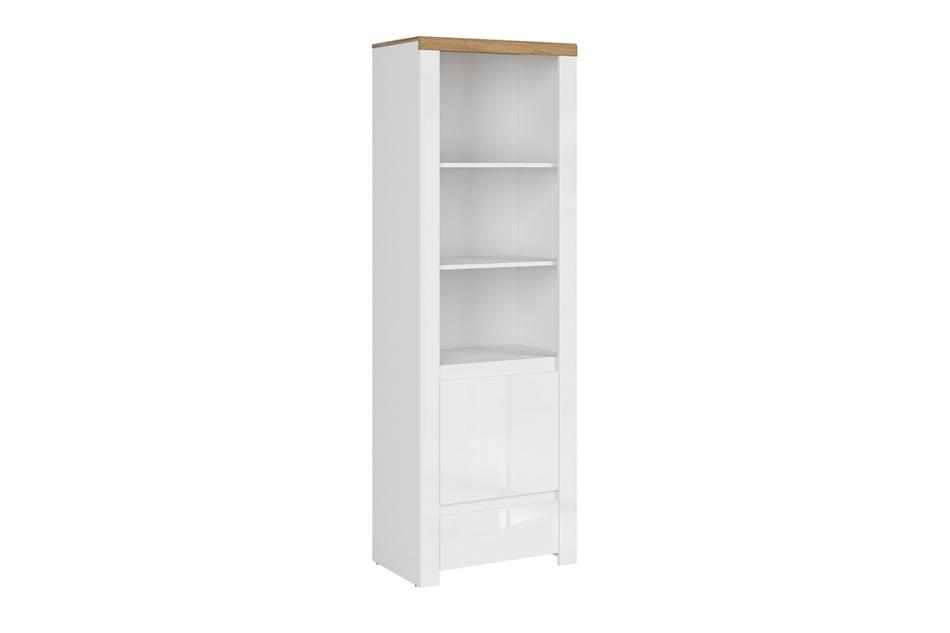 DAMINO Regał z półkami 60 cm do pokoju dziennego biały / dąb biały połysk/dąb wotan - zdjęcie 0
