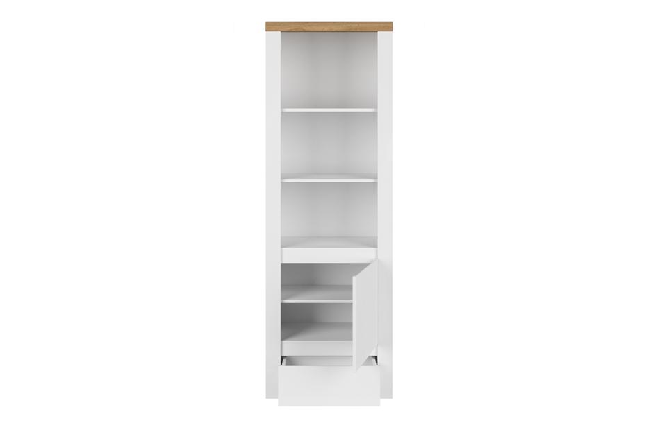 DAMINO Regał z półkami 60 cm do pokoju dziennego biały / dąb biały połysk/dąb wotan - zdjęcie 2