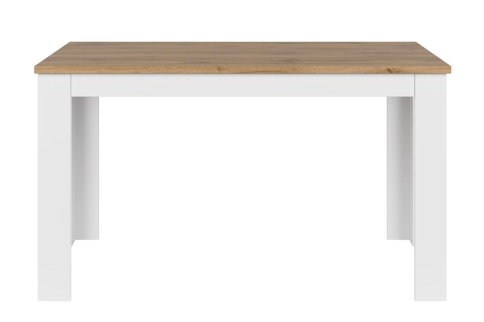 DAMINO Rozkładany stół do pokoju dziennego biały / dąb biały połysk/dąb wotan - zdjęcie 0