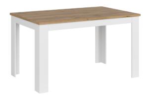 DAMINO, https://konsimo.pl/kolekcja/damino/ Rozkładany stół do pokoju dziennego biały / dąb biały połysk/dąb wotan - zdjęcie