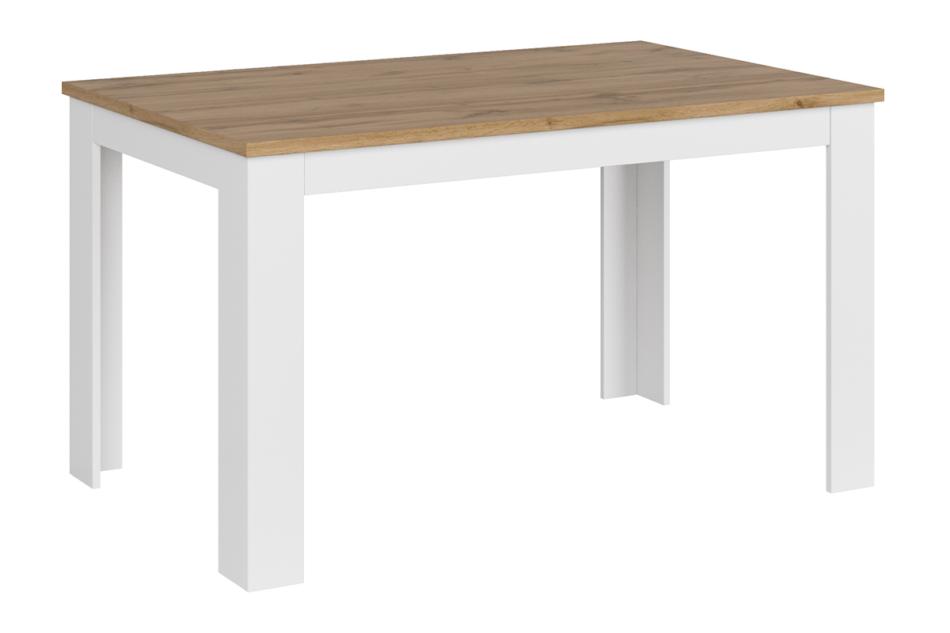 DAMINO Rozkładany stół do pokoju dziennego biały / dąb biały połysk/dąb wotan - zdjęcie 2