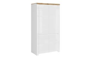 DAMINO, https://konsimo.pl/kolekcja/damino/ Szafa dwudrzwiowa do sypialni biała / dąb biały połysk/dąb wotan - zdjęcie