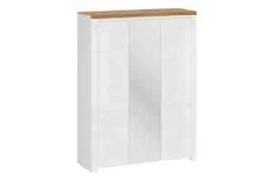 DAMINO, https://konsimo.pl/kolekcja/damino/ Szafa trzydrzwiowa z lustrem do sypialni biała / dąb biały połysk/dąb wotan - zdjęcie
