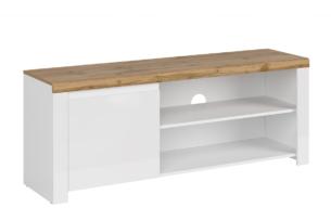 DAMINO, https://konsimo.pl/kolekcja/damino/ Szafka rtv z półkami do pokoju dziennego 150 cm biała / dąb biały połysk/dąb wotan - zdjęcie