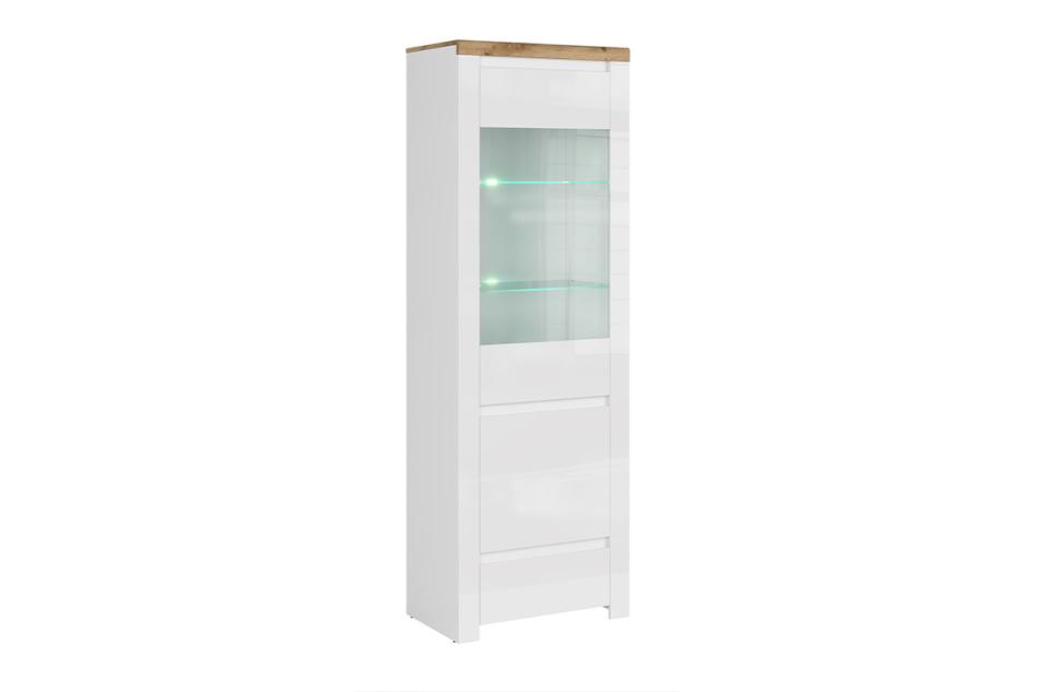 DAMINO Witryna szklana do pokoju dziennego biała / dąb biały połysk/dąb wotan - zdjęcie 0