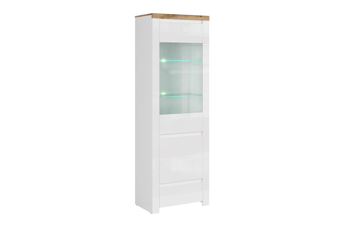 Witryna szklana do pokoju dziennego biała / dąb