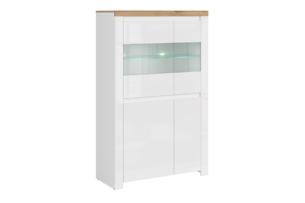 DAMINO, https://konsimo.pl/kolekcja/damino/ Podwójna witryna szklana do pokoju dziennego biała / dąb biały połysk/dąb wotan - zdjęcie