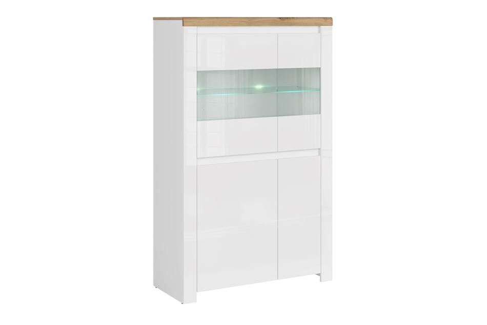 DAMINO Podwójna witryna szklana do pokoju dziennego biała / dąb biały połysk/dąb wotan - zdjęcie 0
