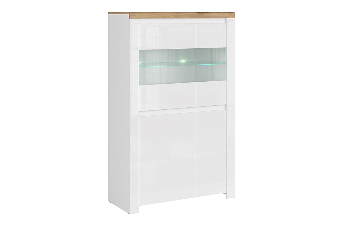 Podwójna witryna szklana do pokoju dziennego biała / dąb