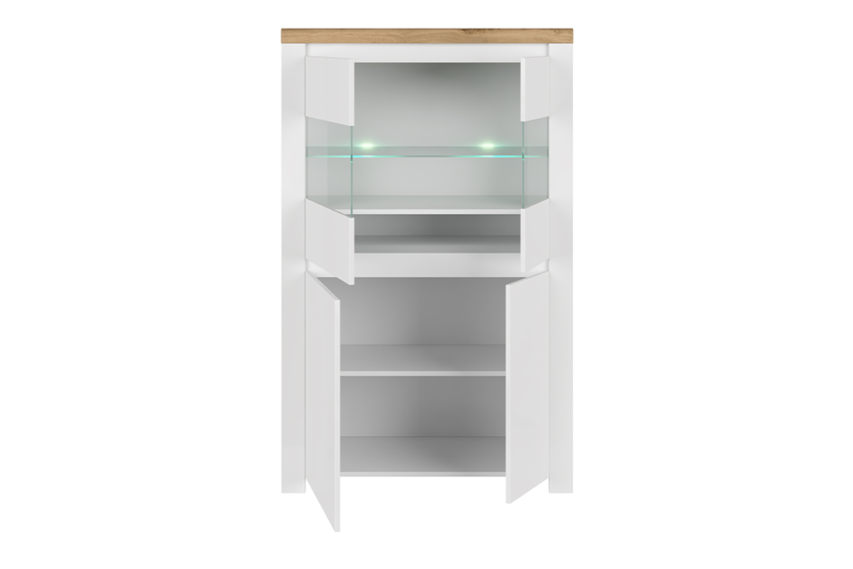 DAMINO Podwójna witryna szklana do pokoju dziennego biała / dąb biały połysk/dąb wotan - zdjęcie 2