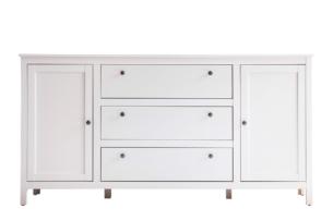 FARGE, https://konsimo.pl/kolekcja/farge/ Elegancka duża komoda z półkami i szufladami 180 cm biała biały - zdjęcie