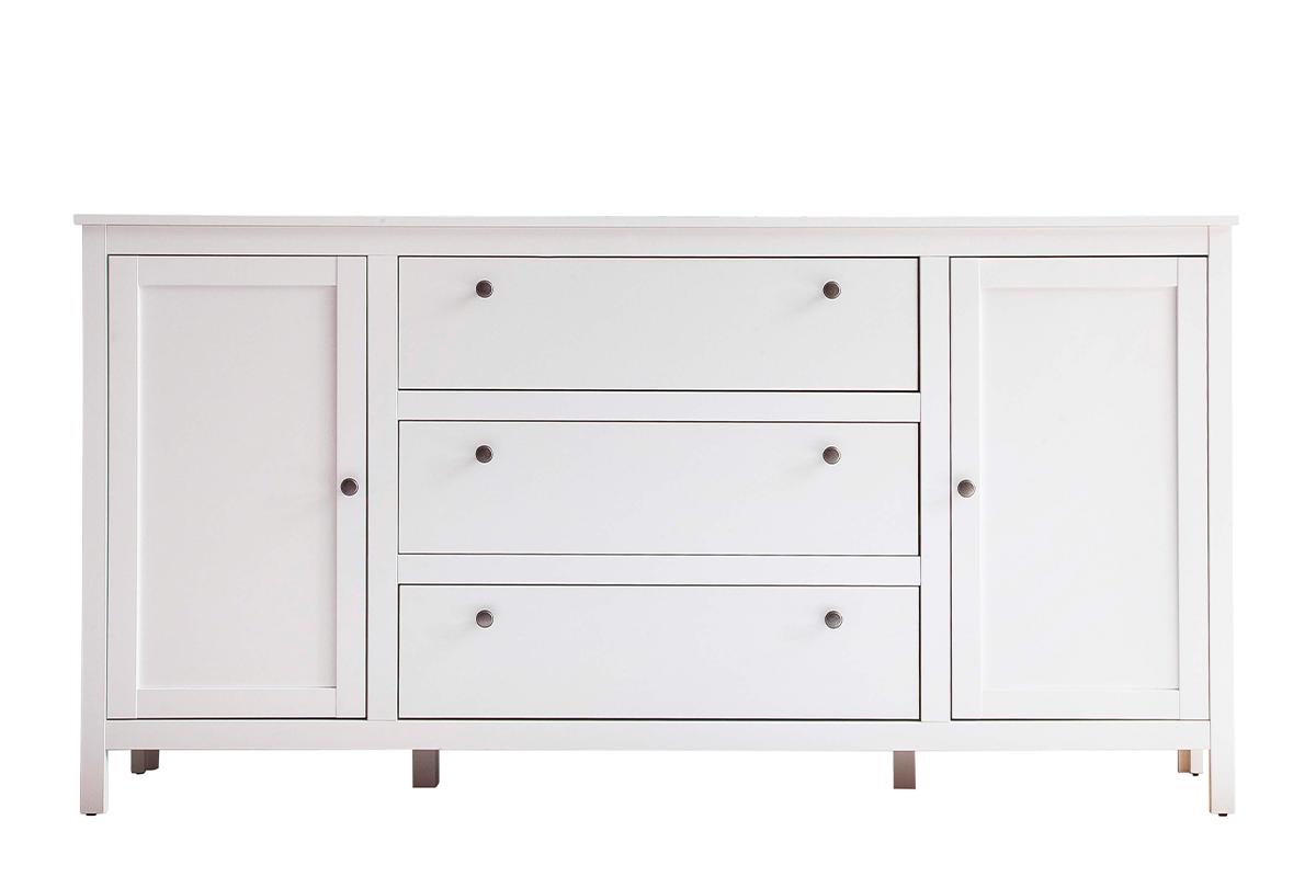 Elegancka duża komoda z półkami i szufladami 180 cm biała