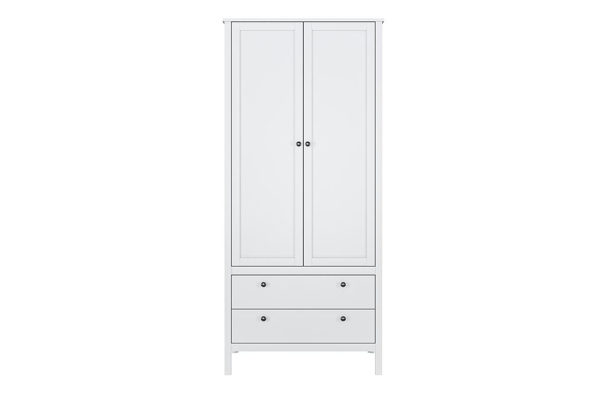 Elegancka szafa dwudrzwiowa z drążkiem i szufladami biała