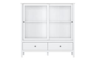 FARGE, https://konsimo.pl/kolekcja/farge/ Elegancka witryna z drzwiami przesuwnymi biała biały - zdjęcie