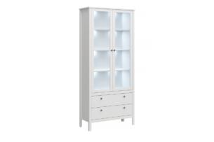 FARGE, https://konsimo.pl/kolekcja/farge/ Elegancka wysoka witryna z półkami i szufladami biała biały - zdjęcie