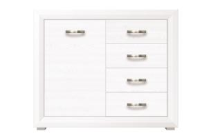 MILVO, https://konsimo.pl/kolekcja/milvo/ Komoda z półkami i szufladami w stylu klasycznym biała / orzech biały - zdjęcie