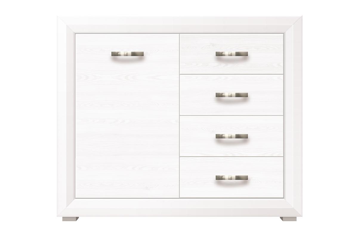 Komoda z półkami i szufladami w stylu klasycznym biała / orzech