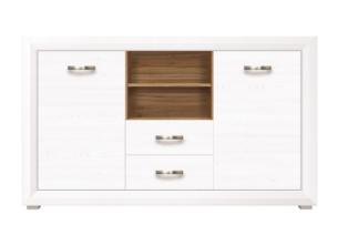 MILVO, https://konsimo.pl/kolekcja/milvo/ Komoda z półkami i szufladami 150 cm w stylu klasycznym biała / orzech biały/orzech naturalny - zdjęcie