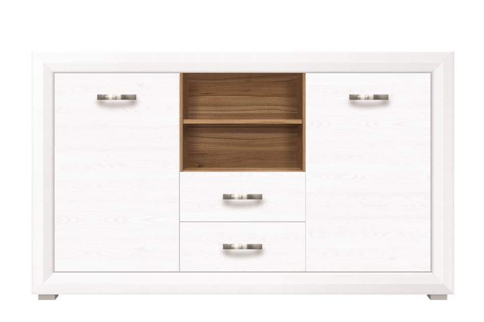 MILVO Komoda z półkami i szufladami 150 cm w stylu klasycznym biała / orzech biały/orzech naturalny - zdjęcie 0