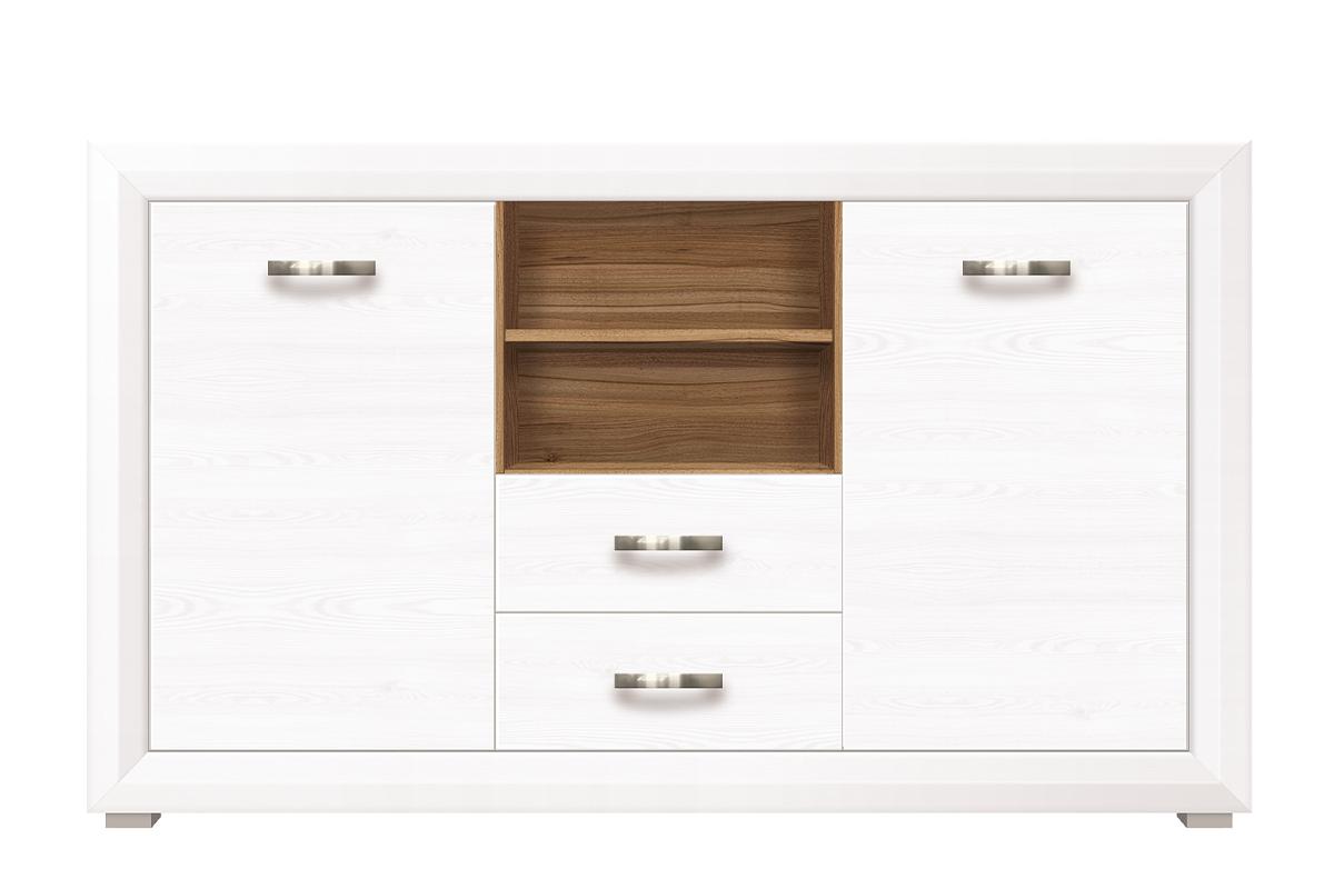 Komoda z półkami i szufladami 150 cm w stylu klasycznym biała / orzech