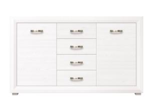 MILVO, https://konsimo.pl/kolekcja/milvo/ Duża komoda z półkami i szufladami w stylu klasycznym biała / orzech biały - zdjęcie