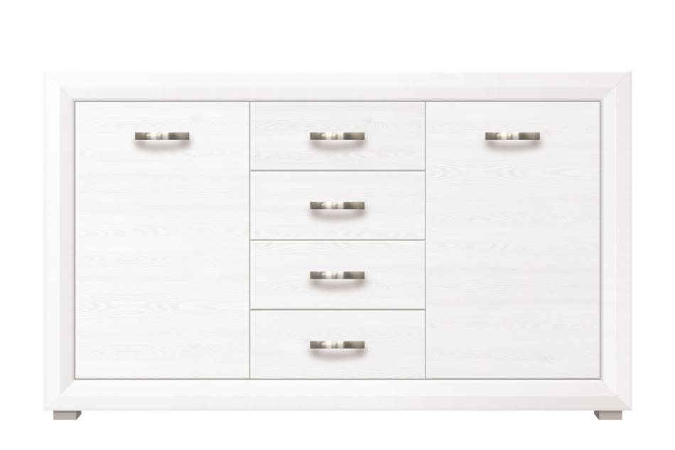 MILVO Duża komoda z półkami i szufladami w stylu klasycznym biała / orzech biały - zdjęcie 0