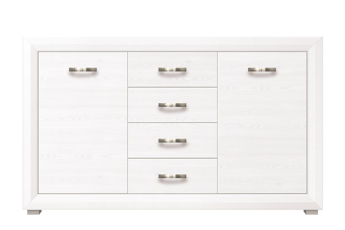 Duża komoda z półkami i szufladami w stylu klasycznym biała / orzech